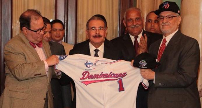 President Danilo Medna Delivers National Flag to Escogido Baseball Team